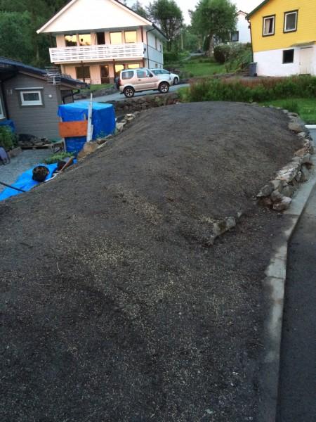 Haugen bak huset ferdig planert og beplantet :-) .