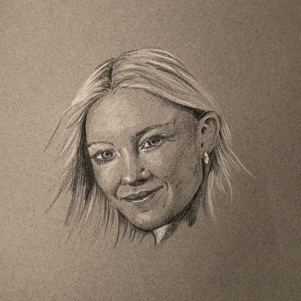 Sort-hvitt portrett Sigrid S