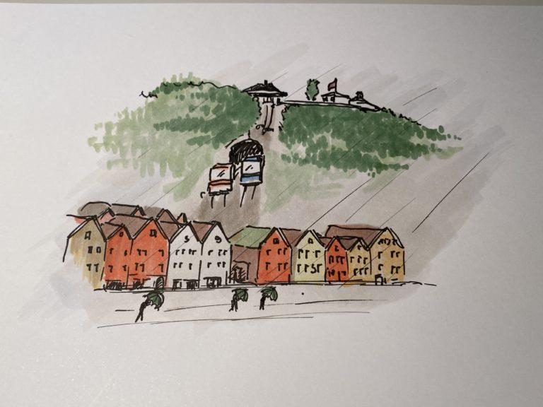 Skisse av Bergen