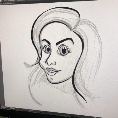 Jeg bruker Adobe Illustrator til å overføre tegningen til grafikk.