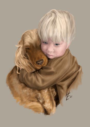 Tegning av barn og dyr - fargeblyant